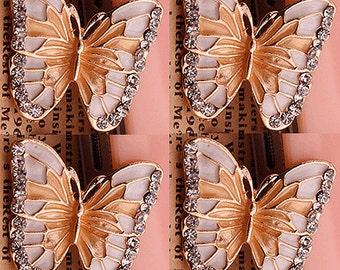 4 Flat Back Rhinestone Butterflies Button Embellishment  (23x21mm) BL-047