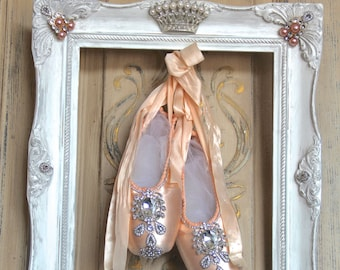 Ballet shoes wall decor, framed ballet, ballerina decor, Vintage wall decor, shabby chic point shoes, french ballet shoes, french ballet