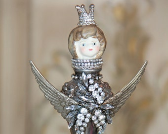 Mixed media assemblage art, silver salt shaker, handmade art, vintage silver art, assemblage art, altered art, doll art, metal crown