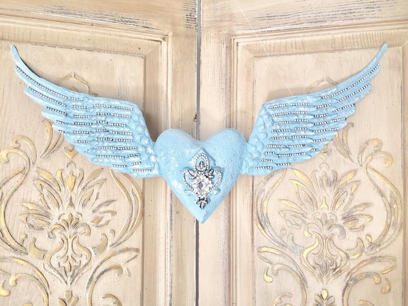 Metal angel wings teal angel wings embellished angel wings image 0