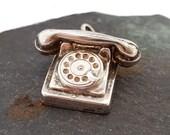 Vintage Sterling Silver Old Fashioned Phone Charm, Silver Phone Charm, Rotary Phone Charm, 925 Silver Charm for Bracelet, Vintage Phone