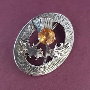 Scottish thistle thistle brooch Mizpah Mizpah brooch gift Scottish souvenir Amber Scottish brooch Scottish Scottish thistle brooch