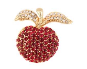 Vintage Red Rhinestone Apple Brooch Pin, Gold tone, Fruit Brooch