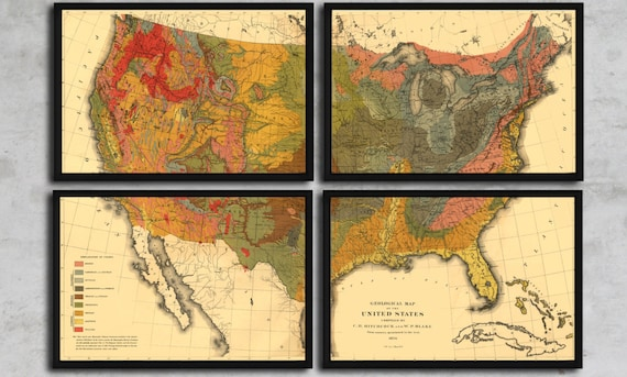 Geological Map Set of the United States - Vintage Geology - Circa 1874 -  Limited Edition - Americana Wall Hanging - Unique Decor