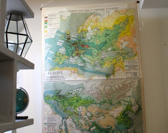 Vintage Rolling Map - European and Asian Commercial Development - Circa 1923 - Wall Covering - Economic Map - Vintage Chart - Antique Map