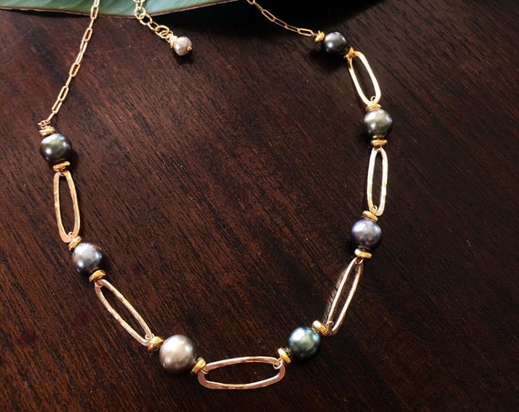 Tahitian Pearl and Hammered Gold Link Necklace by Liquid Sunshine
