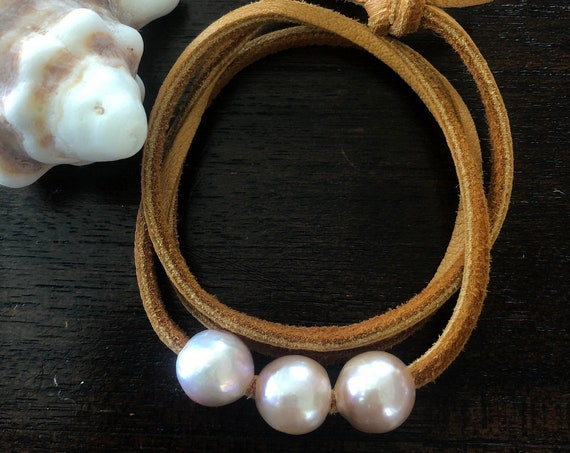 Pink Edison Pearl Leather Choker Necklace/ Wrapping Bracelet/ Wrapping Anklet by Liquid Sunshine