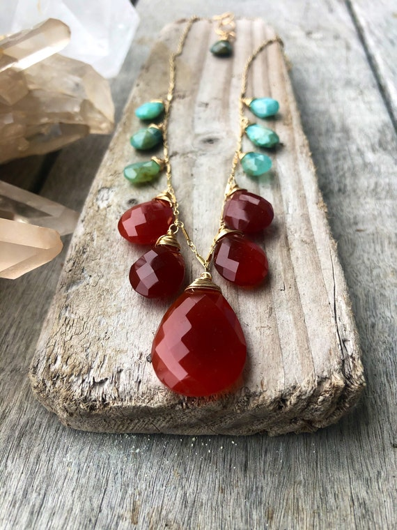 Carnelian and Opal Liquid Sunshine Necklace