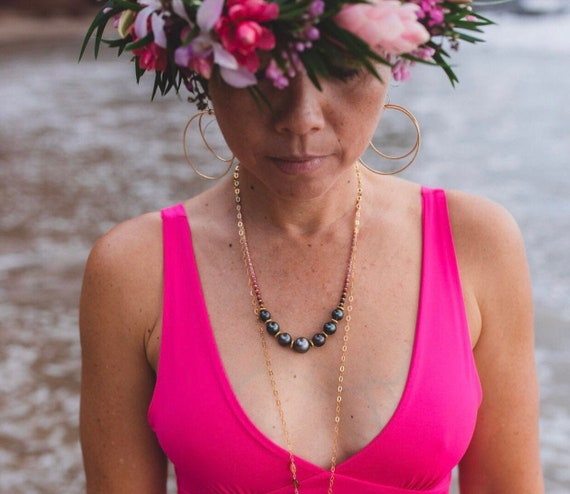 Tahitian Pearl and Ruby Necklace