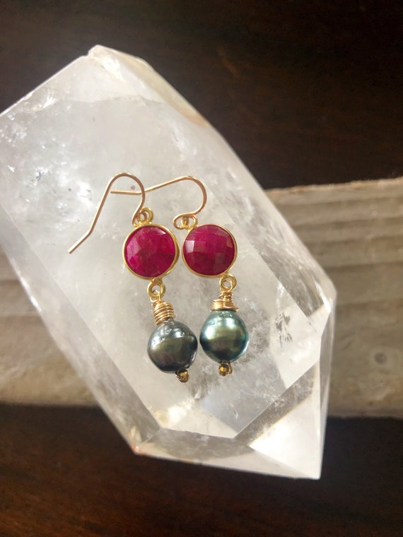 Ruby and Tahitian Pearl Drop Earrings