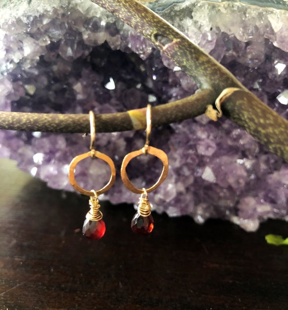 Dainty Garnet Drop Gold Hammered Hoop Earrings