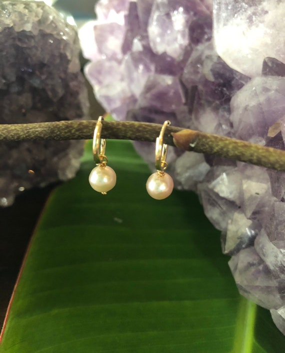 Petite Through Gold Hoop Pearl Earrings