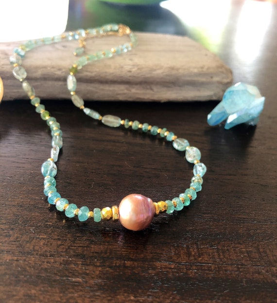Pink Pearl and Aquamarine Beach Dream Necklace
