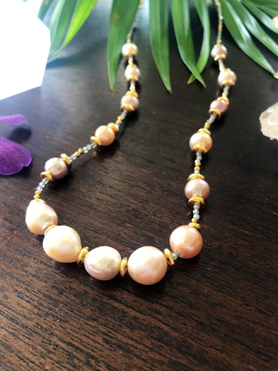Pink and Champagne Pearl Necklace