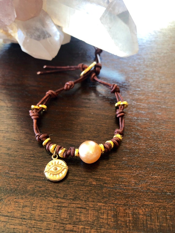 Leather Knotted Pearl Bracelet with Eye of Protection