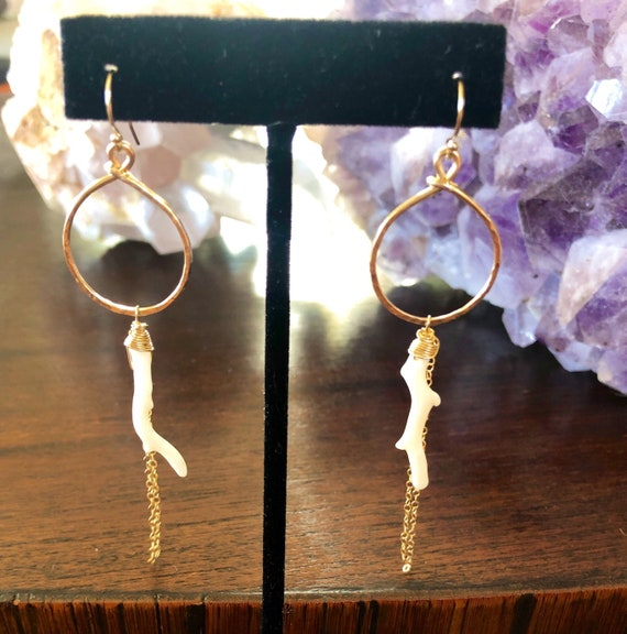 Hammered Gold Coral Branch Hoops with Chain