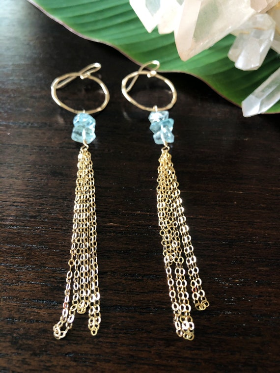 Sparkling Aquamarine and Chain on Gold Hoops