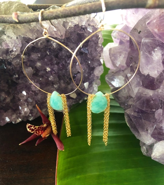 Aqua Raw Gemstone Waterfall Hoop Earrings