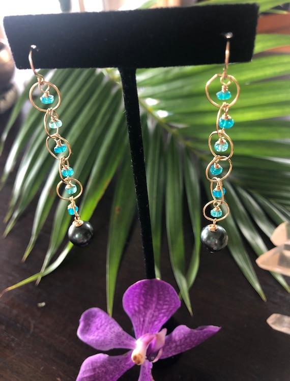 Tahitian Pearl and Opal Dangle Earrings