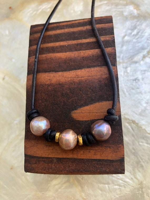 Triple Pearl Leather Knotted Necklace with Gold by Liquid Sunshine
