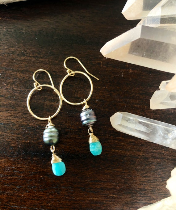 Tahitian Pearl and Aqua Amazonite Gold Hoop Earrings