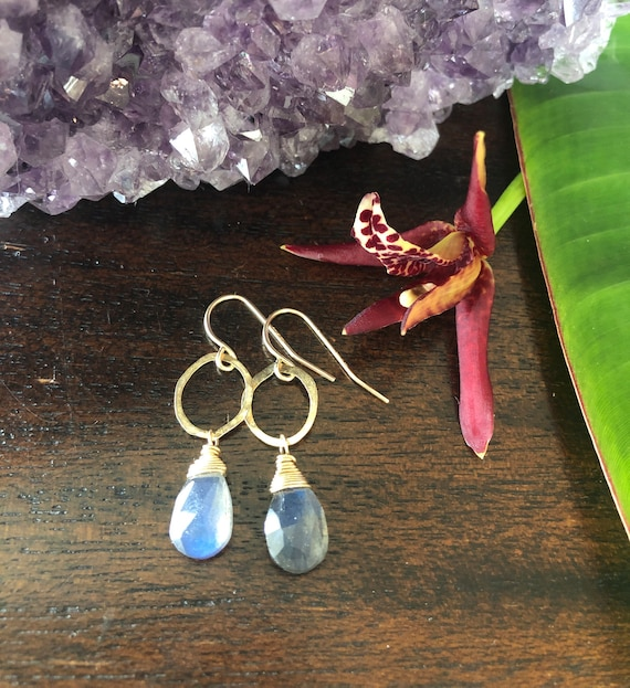 Petite Labradorite Hammered Hoop Earrings