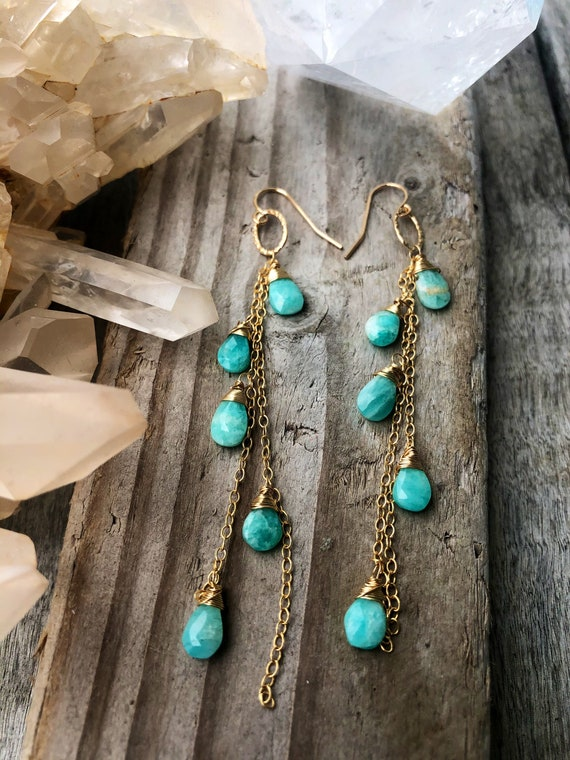 Petite Multi Gemstone Gold Chain Aqua Earrings