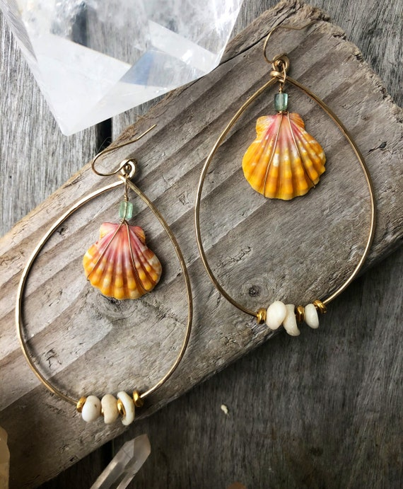 Epic Sunrise Shell and Puka Shell Hammered Tear Drop Gold Hoops