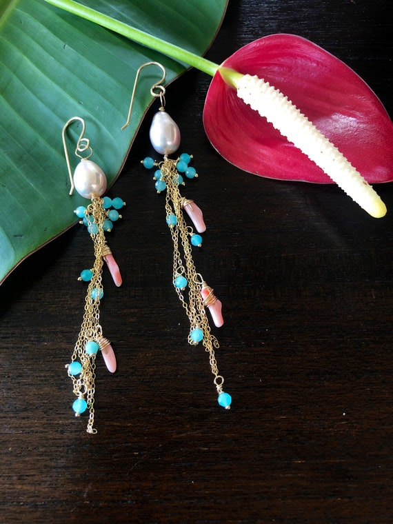 Pink Edison Pearl, Aqua Apatite and Coral Chain Cluster Drop Earrings