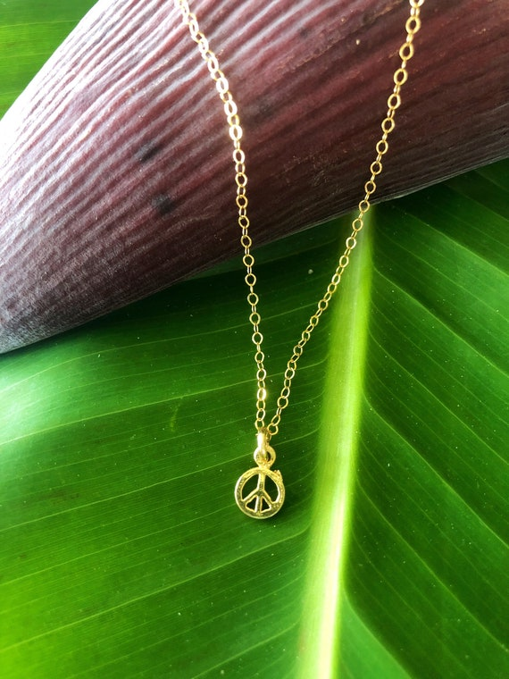Minimalist Necklace Peace Charm by Liquid Sunshine