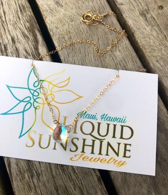 Petite Rainbow Quartz Necklace gold chain