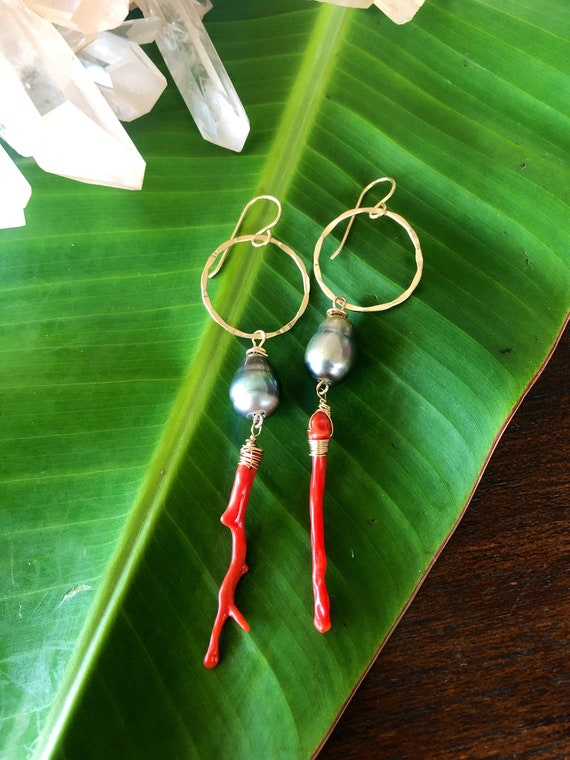 Tahitian Pearl and Red Coral Earrings