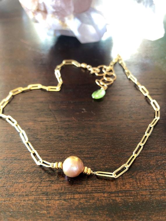 Pink Pearl Gold Chain Choker