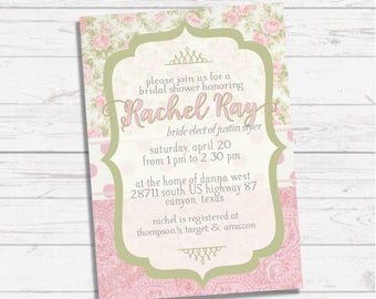 Pink and Green Shabby Chic Floral Bridal Invitation