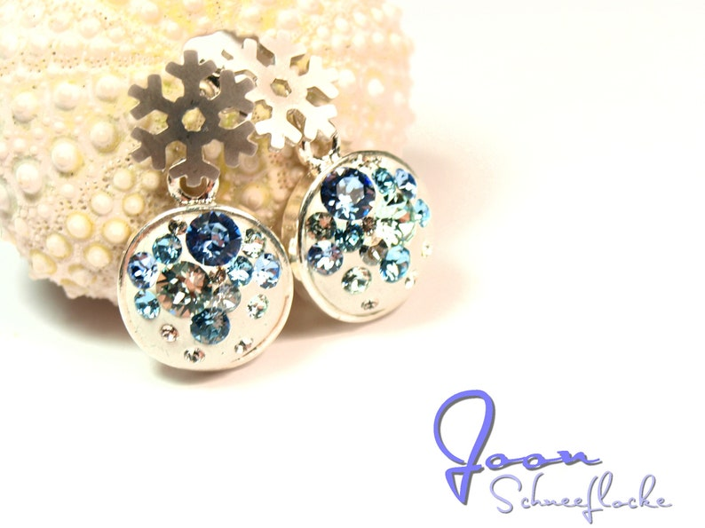 Snowflake rhodonated Ear studs 12mm dia with crystal chatons