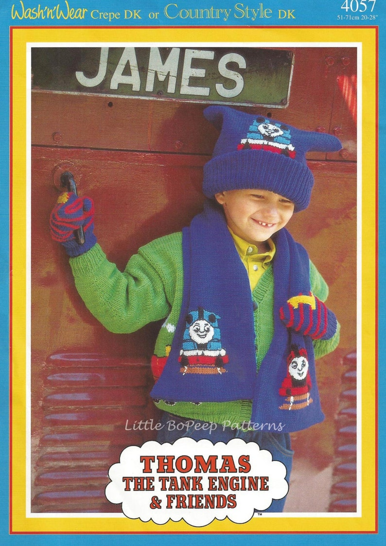 56679cdf4a2 Thomas The Tank Engine Knitting Pattern Childs Hat Scarf and mittens ...