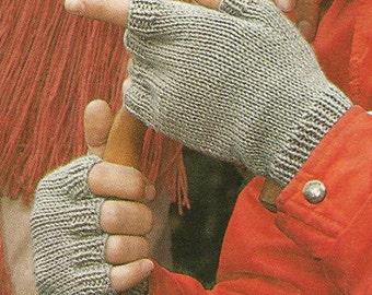 Men's Fingerless Mitts Knitting Pattern - PDF