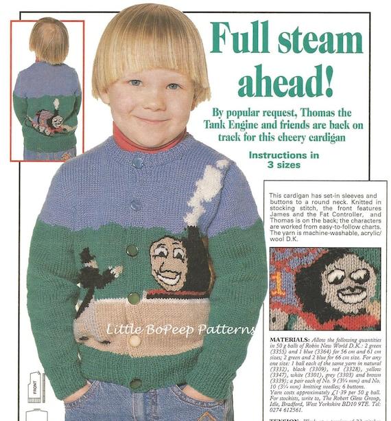 Thomas The Tank Full Steam Ahead Knitting Pattern Childs Cardigan
