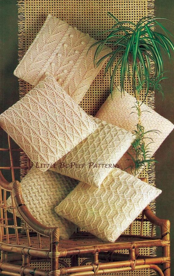 Aran Cushion Covers Knitting Pattern In 6 Designs Pdf Etsy