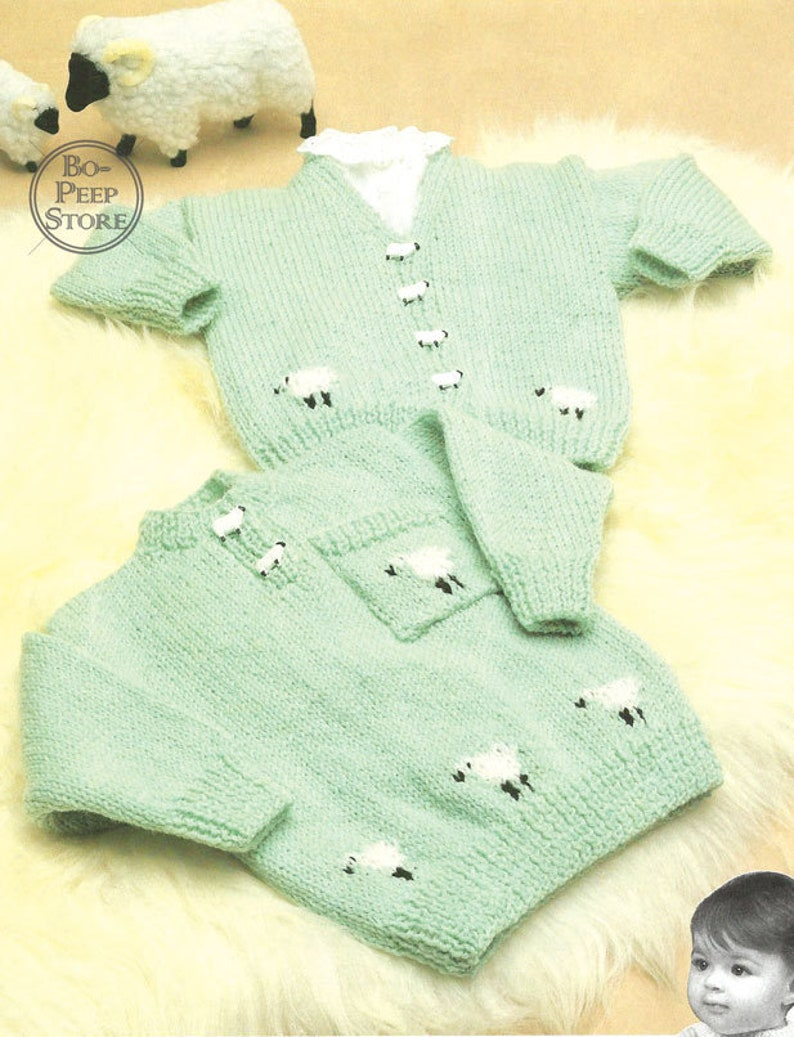 de7ade13f23e08 Baby Toddler Sheep Motif Jumper and Cardigan to fit chest 18