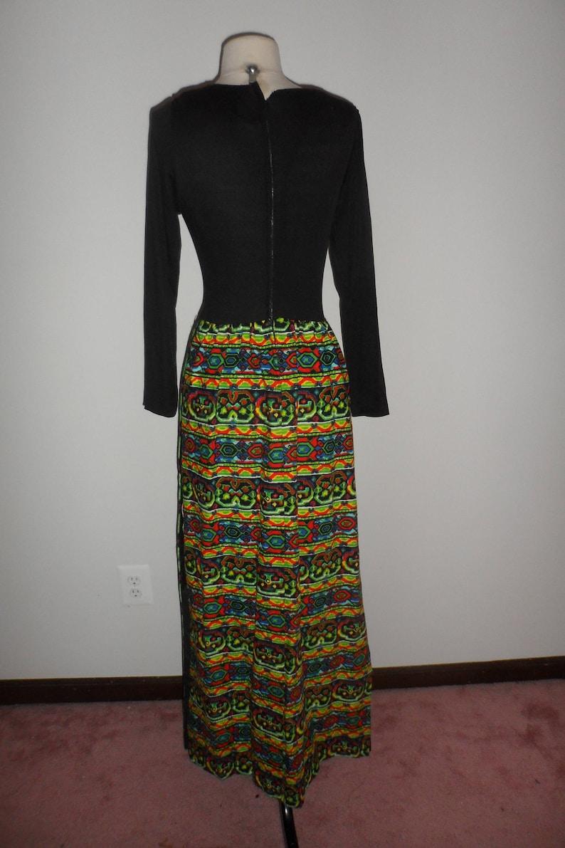1960s black multi color pattern dress maxi dress with shorts slit  up sides mod long maxi dress