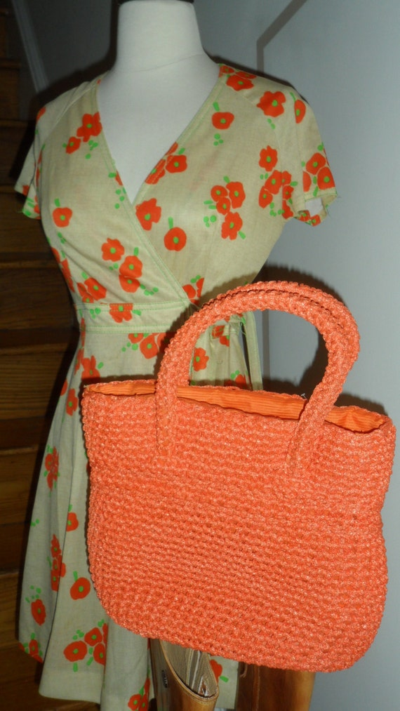 bright orange 50s 60s raffia handbag another  made
