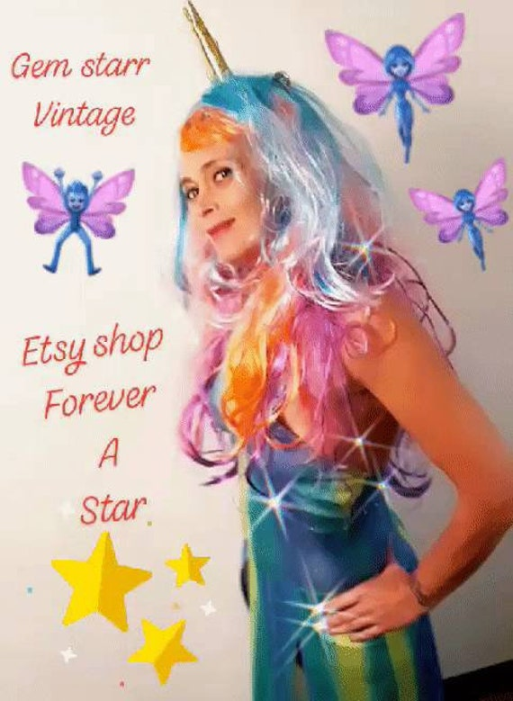 Vintage ombre unicorn color dance costume dress un