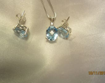 Natural Blue topaz Pendant and Stud Earrings Set