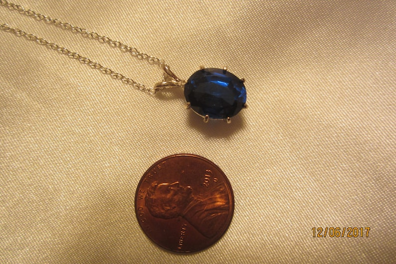 Lab Created Royal Blue Sapphire Solitaire Pendant