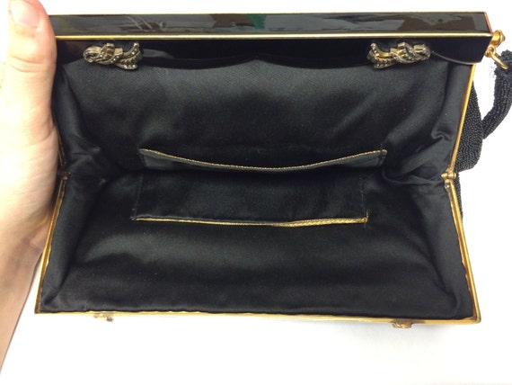40's Evening Bag black with gold handle - image 4