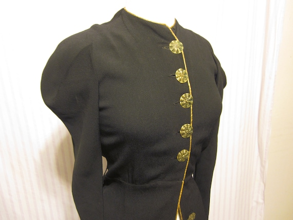 1910s Blouse or Jacket with Brass Buttons