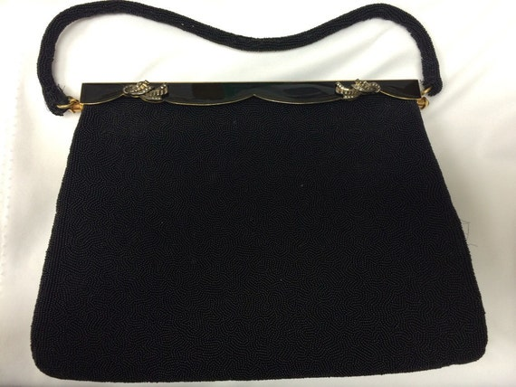 40's Evening Bag black with gold handle - image 1