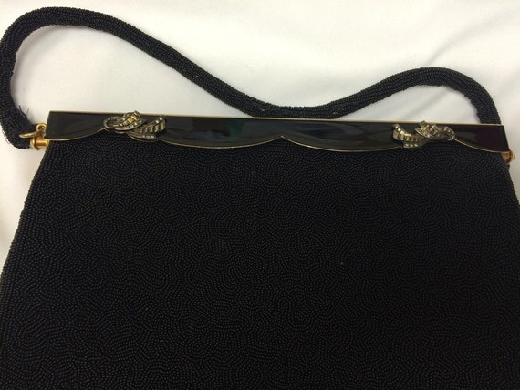 40's Evening Bag black with gold handle - image 2