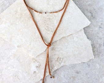 Catherine (TAN) necklace or bracelet - soft long leather wrap with a high quality pink tourmaline focal point